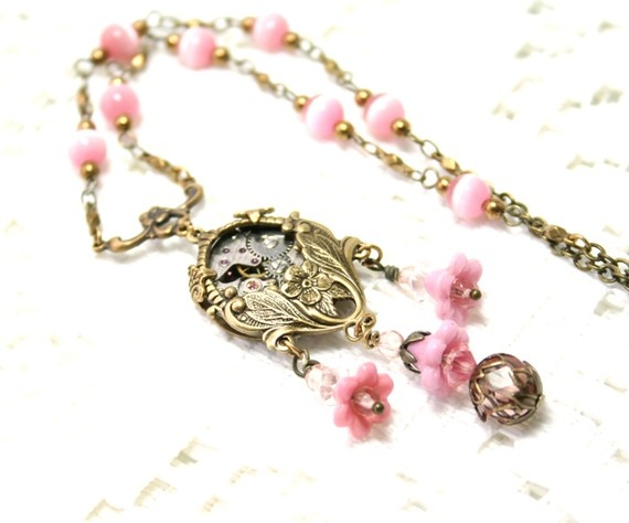 Steampunk Victorian Honeysuckle Necklace