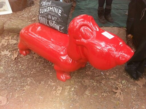 Red dog bench
