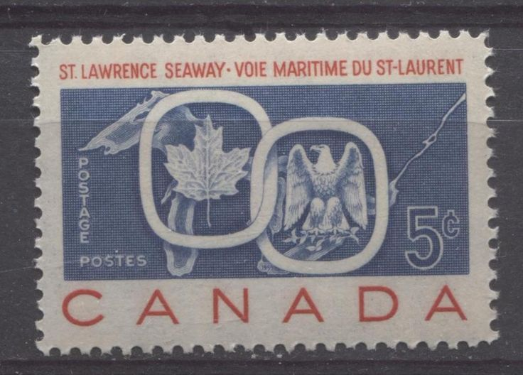 Canada #387 5c Red And Blue 1959 Seaway And National Emblems VF 75/80 NH