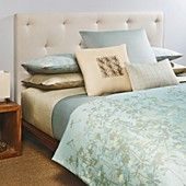 Calvin Klein Marin Bedding This could be the basic color palette. Love Creamy turquoise, taupe, white center taupe pillow with more apricot added.