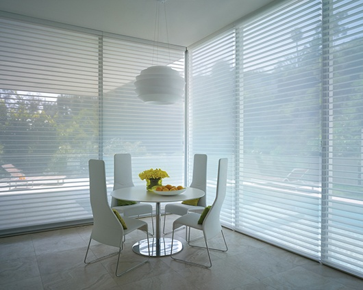 Without color, form, shine and sleek design makes a greater impression.  Silhouette® Window Shadings