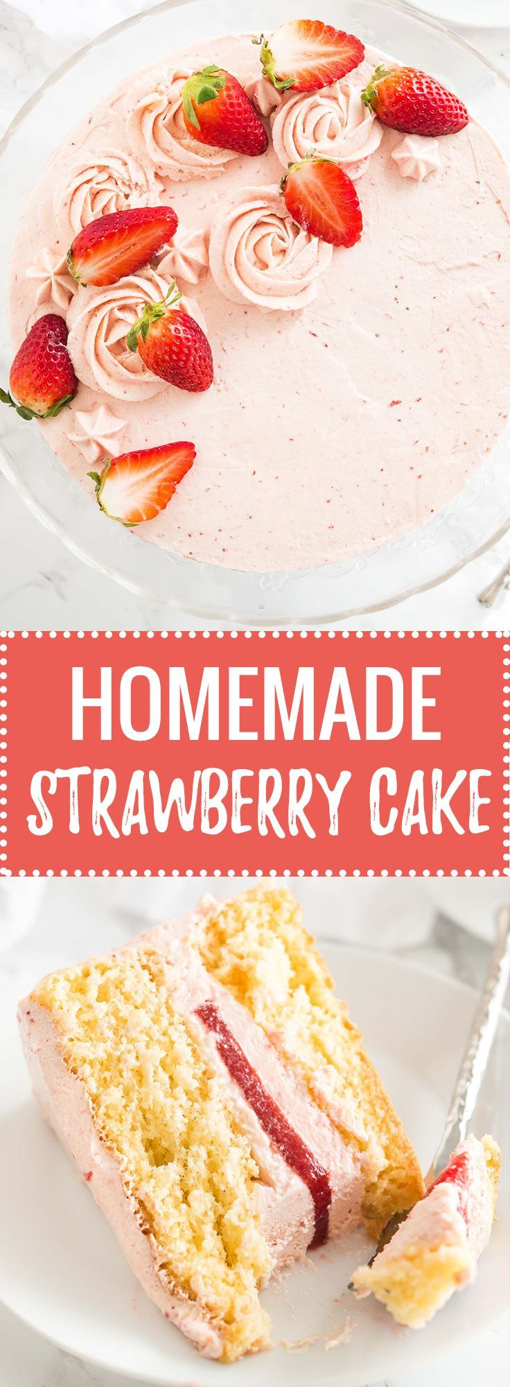 This homemade Strawberry Cake Recipe is bursting with fresh strawberry flavor and made completely from scratch! Layers of soft and fluffy vanilla cake filled with a strawberry buttercream and a layer of fresh strawberry filling. A perfect layer cake for s