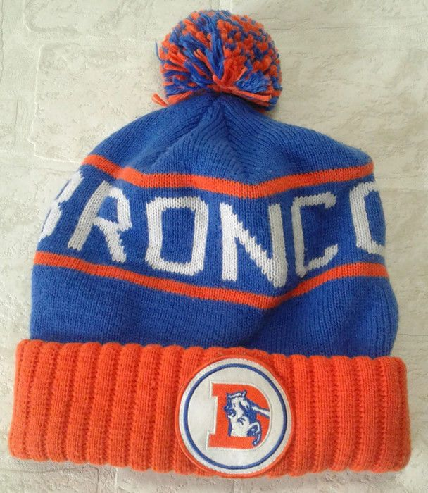Denver Broncos Hat Beanie Throwback NFL Mitchell & Ness High Five Cap Pom Pom #MitchellNess #DenverBroncos