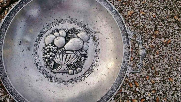 Купить Старинная тарелка для фруктов, олово - серебряный, тарелка для фруктов, фруктовая тарелка, фрукты, ягоды