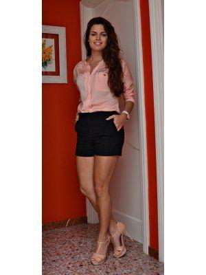 Disonia outfit gasa rosa palo short talle alto primavera - Color rosa palo ...