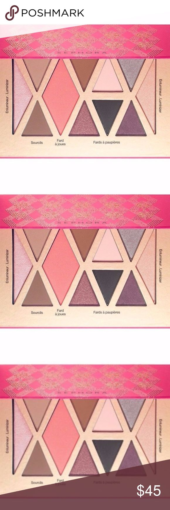 Enchanting Eye Brow Shadow Powder Palette Blush Brand New! Factory Sealed!  8 pearly and matte eyeshadow tints, including 2 shimmer highlight  2 eye brow powders  1 perfect blush Sephora Makeup Eyeshadow