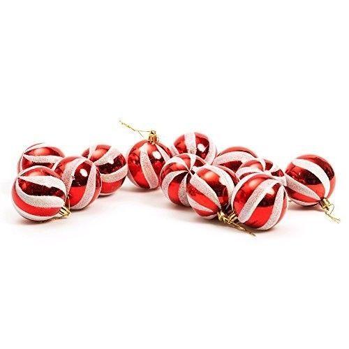 Shatterproof Christmas Tree Luxury Baubles (60mm) 12 x Swirl Glitter (Red)