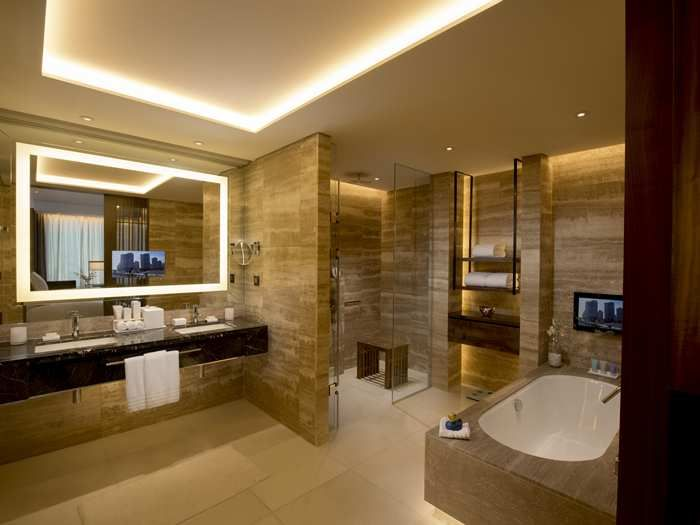 Take a look at 17 different but interesting bathrooms designed for every  taste. From shiny luxury to modern contemporary.