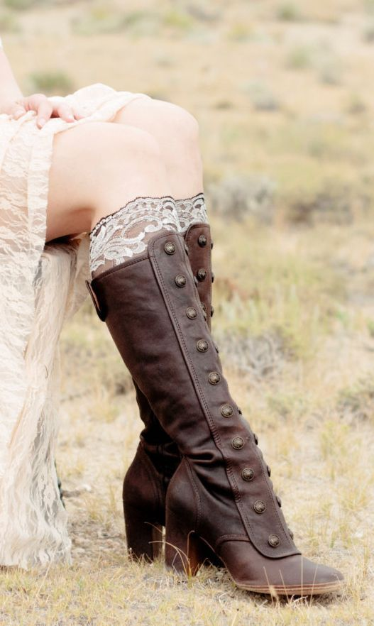 Leather Buttoned Boots and Lace Boot Cuffs ~