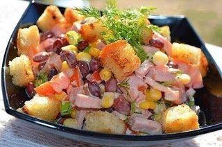 Поварешки: Салат с фасолью и сухариками