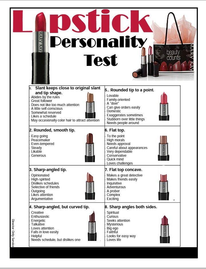 Lipstick Personality Test Mary kay cosmetics, Mary kay