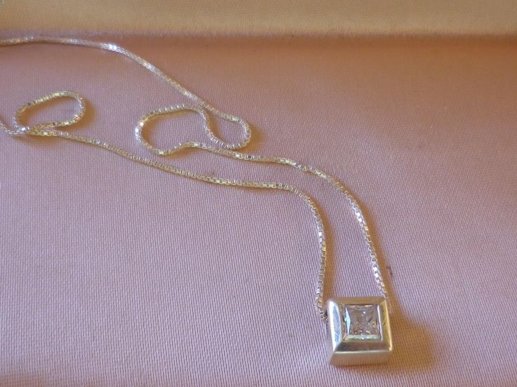 Vintage Sterling Silver Fine Box Chain Necklace Clear CZ Sterling Pendant by OleSilverShoppe on Etsy
