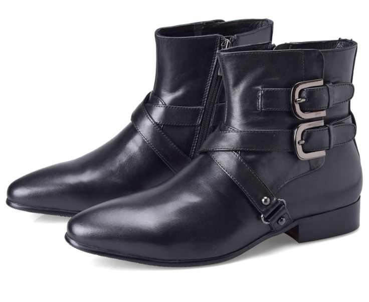 Double buckle pointed toe black boots mens ankle boots genuine leather motorcycle shoes mens casual boots