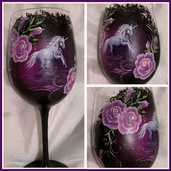 Hand painted wine glass with unicorn  hand painted wine by Aligri