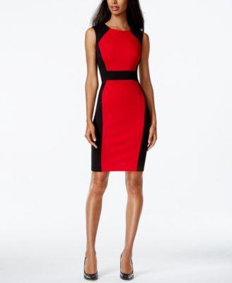Calvin Klein Colorblocked Sleeveless Sheath Dress