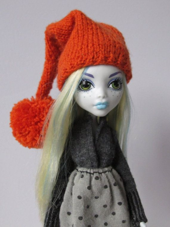 Knitted orange hat for lati yellow pukifee monster high and similar size 5'-6' head dolls