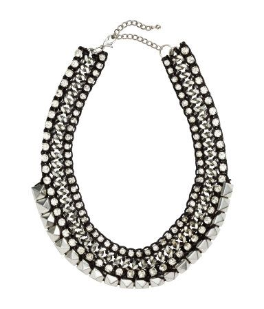 Chunky necklace with rhinestones and studs. #ACCESSORIZEINHM
