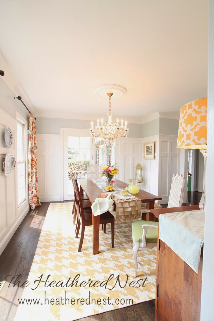 Heathered Nest yellow dining room makeover with houndstooth & toile