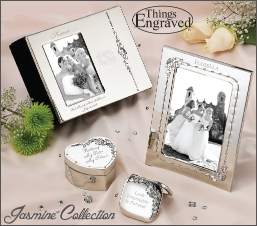 The Jasmine Wedding Collection has four stunning items, all with crystal bead details. See prices and details here: http://www.thingsengraved.ca/​products.php?s=x_jasmine All items can be engraved.  #thingsengraved #thingsengravedgifts