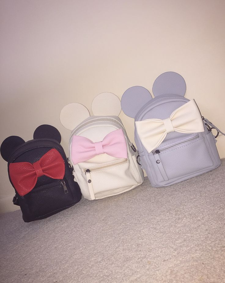 Matching Minnie Mouse backpacks for myself and two of my best friends from my Disney College Program