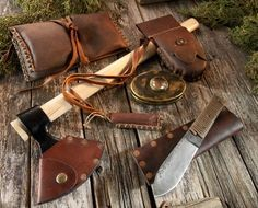 Beautiful leather antique style bushcraft kit