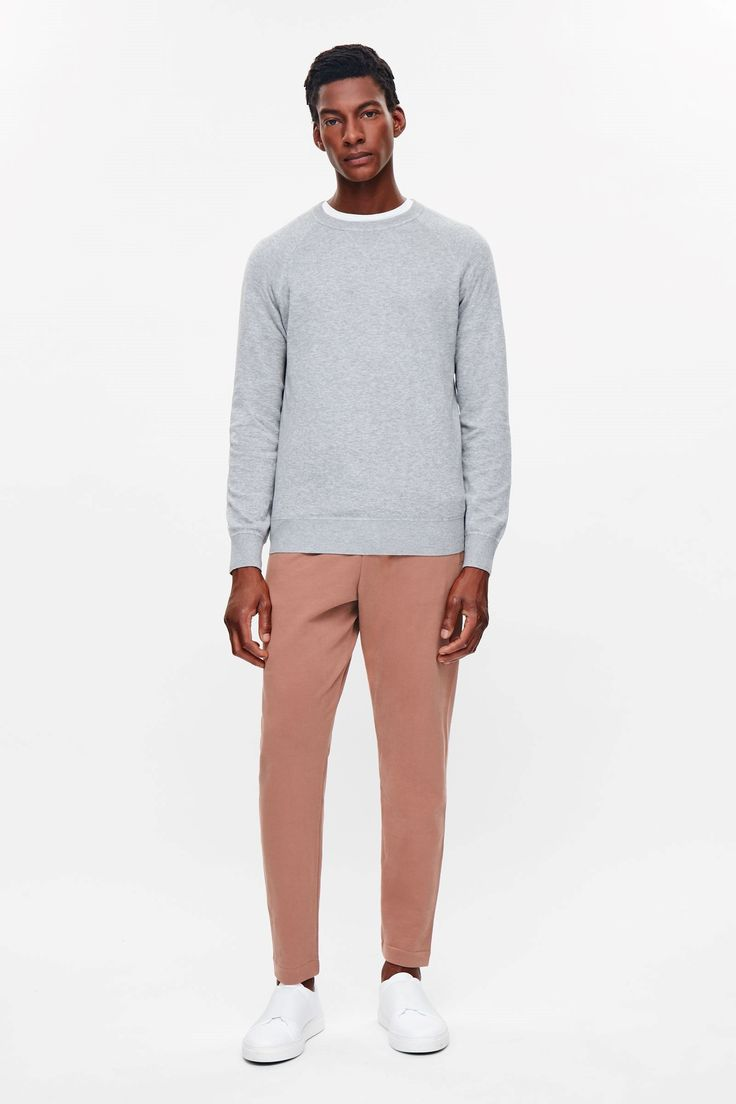 COS image 1 of Drawstring jersey trousers in Terracotta