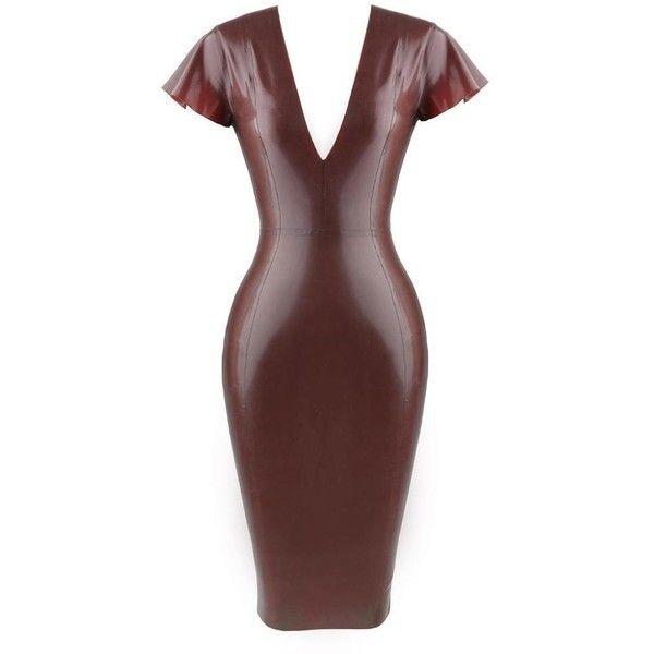 KASSAYA CHOCOLATE BROWN DEEP 'V' LATEX MIDI DRESS ($185) ❤ liked on Polyvore featuring dresses, sexy midi dresses, red slip, back zipper dress, short slip and zip back dress