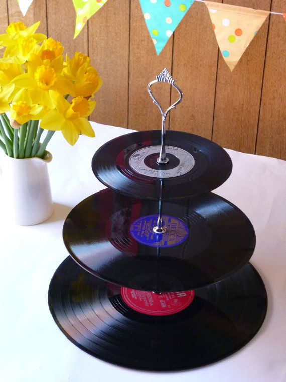 Record Cake Stand 3 Tier Vintage Vinyl Retro Celebration Server Garden Party Cakestand Themed Cupcake