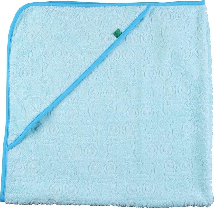 Telo con cappuccio Wali azzurro - Green Cotton. Asciugamano da bambino a telo quadrato con cappuccio confezionato con spugna di cotone da agricoltura biologica al 100% certificato GOTS.