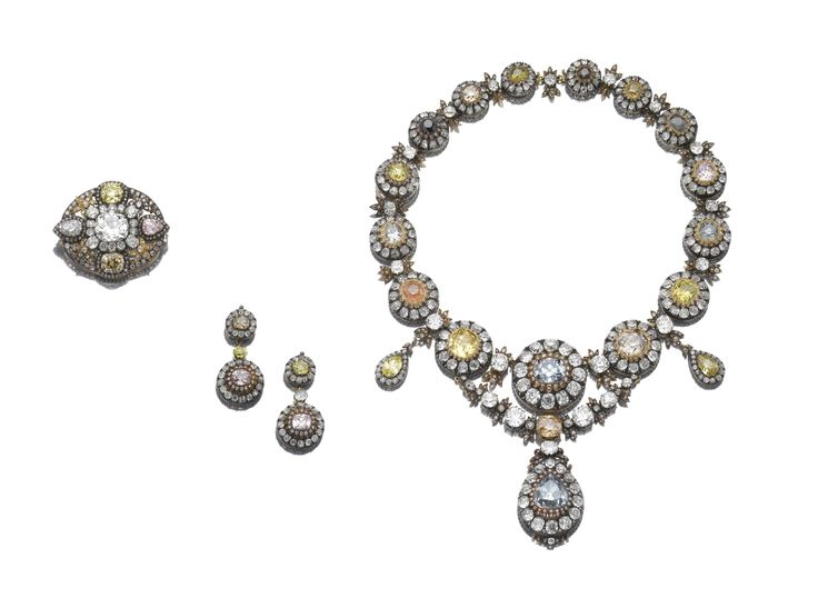 A Superb Suite of Imperial Jewels, Mid 19th Century. Formerly the property of Her Imperial Highness Princess Nelishah Abdel-Moneim. The jewels contained in this necklace may have formed part of the ransom offered by Empress Catherine I, wife of Peter the Great of Russia to the Twenty-Third Ottoman Sultan Ahmed III (1673-1736), son of Mehmed IV, after the Pruth River Battles.