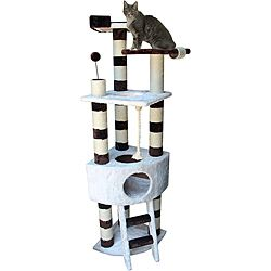 @Overstock.com - Savannah Cat Tree Furniture - This Kitty Mansions cat tree has everything your cat would want. Three platforms to sit on, six scratching posts to claw on, two punching bags to take a swipe at, a condo on the middle floor and a bed on the top floor.  http://www.overstock.com/Pet-Supplies/Savannah-Cat-Tree-Furniture/6384784/product.html?CID=214117 $72.94