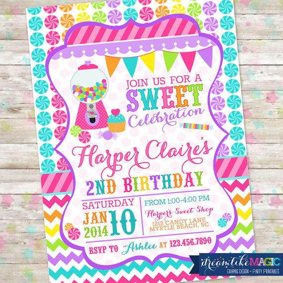 Candyland Sweet Celebration Birthday Invitation Candy Invite with Gumball Chevron Pink Printable DIY