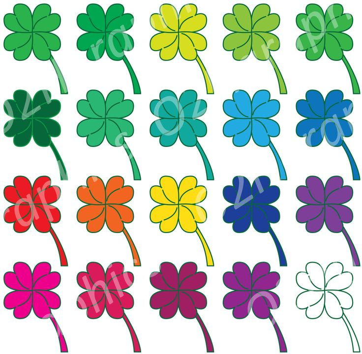 Shamrock Clipart, Clover Clip Art, Vector Clipart, Digital Scrapbooking, Graphic Artwork, PNG & JPEG, Digital Download, Commercial Use by O2HGraphics on Etsy
