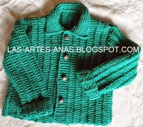 Así de abrigada nos quedó esta chaqueta de calceta para ALEJANDRO,CON TALLA DE 3 AÑOS LE VIENE GENIAL para primeros fríos del INVIERN...