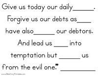 The Lords Prayer File Folder Game