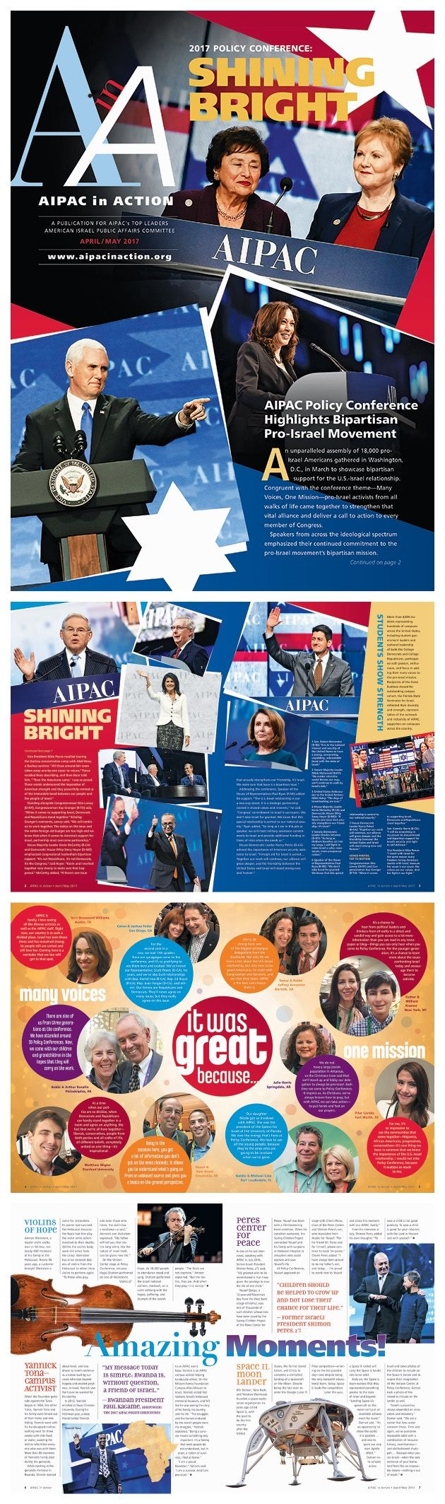AIPAC in Action — Cover and interior spreads of the Post-Policy Conference edition of the newsletter, which is aimed at donor outreach & retention for the American Israel Public Affairs Committee. By Beth Singer Design.
