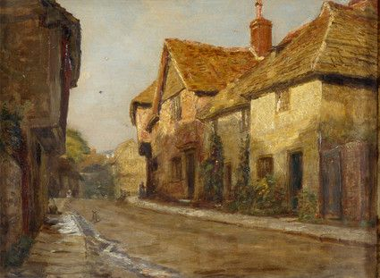 "Oil painting from the Fine Art collection. ""Church Street Steyning"" by Alfred Fitzwalter Grace, showing a view of a street lined with houses."