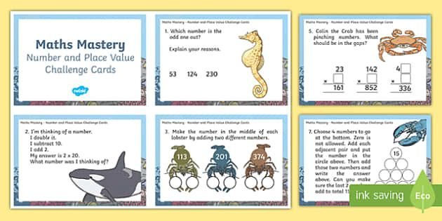 Year 3 Number and Place Value Maths Mastery Challenge Cards - maths mastery, maths, mathematics, mastery, challenge cards, challenge, year 3, number and place value, number day