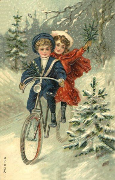 Victorian Christmas winter bike ride: Vintage Christmas Cards, Bicycles, Post Cards, Idea, Christmas Postcards, Bike, Vintage Card, Bumble Button