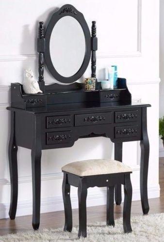 SEN112 Masă de toaletă neagră, cu 7 sertare:  http://www.emobili.ro/cumpara/sen112-set-masa-neagra-toaleta-cu-7-sertare-cosmetica-machiaj-oglinda-614 #eMobili
