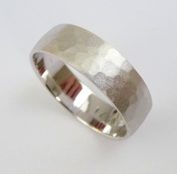 Something for him, too. Modern. Unique. Eco-friendly. Wedding Band White gold mens Wedding ring hammered by havalazar, $425.00