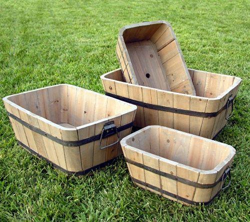 Shine Company Rectangle cedar Wood Sebastian Barrel Planter - Set of 4 - Planters at Hayneedle