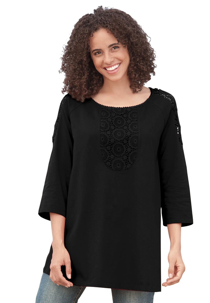 Plus Size Tunic Top With A Line Crochet Trim 3 4 Sleeves
