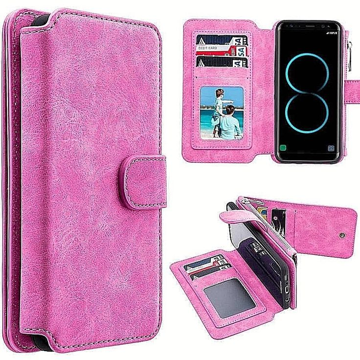 Samsung Galaxy S8 Luxury Leather Wallet Case With Card Slots Clear Pink New #DealsToaday