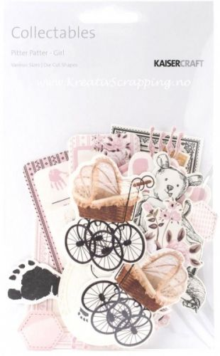 KAISERCRAFT - PITTER PATTER CT798 - DIE-CUTS - GIRL.  Die kutt i serien PITTER PATTER fra KAISERCRAFT.I pakken inneholder over 50 forskjellige dies kutt i varierte størrelser.   KAISERCRAFT - Pitter Patter Collectables Cardstock Die Cuts: Girl. The perfect addition to all your paper crafting projects! This 7- 1/2x4-1/2 inch package contains over fifty die-cuts in a variety of sizes and designs. Each package varies in content.