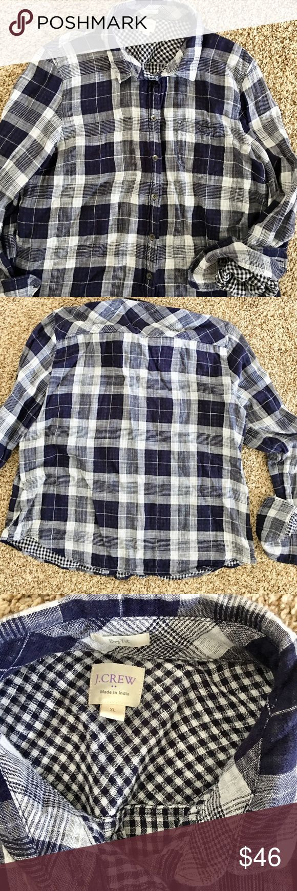 JCrew Flannel boy fit shirt. Worn once- too short for me.  Has a boxy fit to it.  Cute gingham contrast plaid in inside.  Navy and gray/cream large plaid on outside.  Lightweight flannel material.  Very cute, sad it doesn't look good on me. J. Crew Tops Button Down Shirts