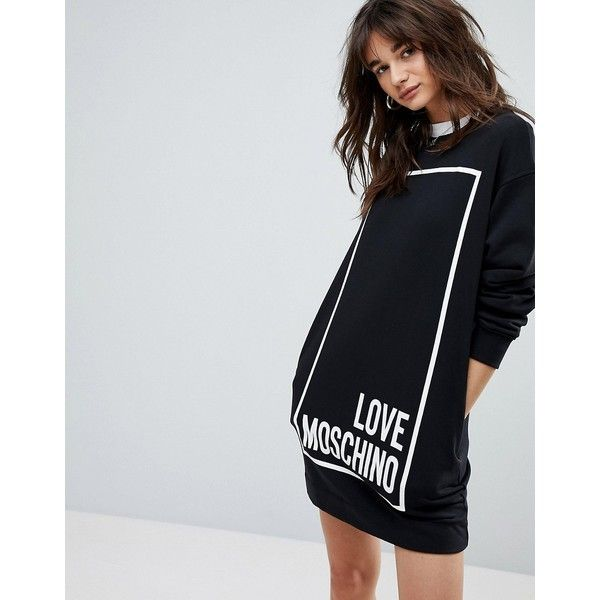 Love Moschino Square Logo Sweat Dress ($220) ❤ liked on Polyvore featuring dresses, black, embelished dress, baggy dresses, leather dresses, print dress and heart pattern dress