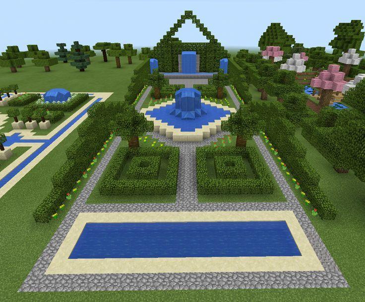 minecraft garden and fountain