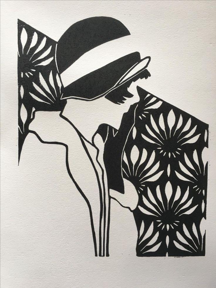 ✦   'a woman of affairs I' //  linda touwen  //  linocut