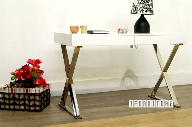LONGITUDE Cross Leg White Gloss Desk , Office, NZ's Largest Furniture Range with Guaranteed Lowest Prices: Bedroom Furniture, Sofa, Couch, Lounge suite, Dining Table and Chairs, Office, Commercial & Hospitality Furniturte